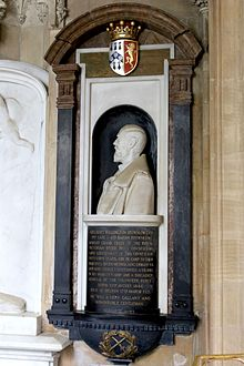 Memorial to Adelbert Wellington Brownlow Cust, 3rd Earl Brownlow, in St Peter and St Paul's Church, Belton.jpg