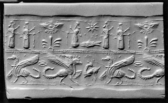 File Mesopotamian Cylinder Seal With Griffins Humans