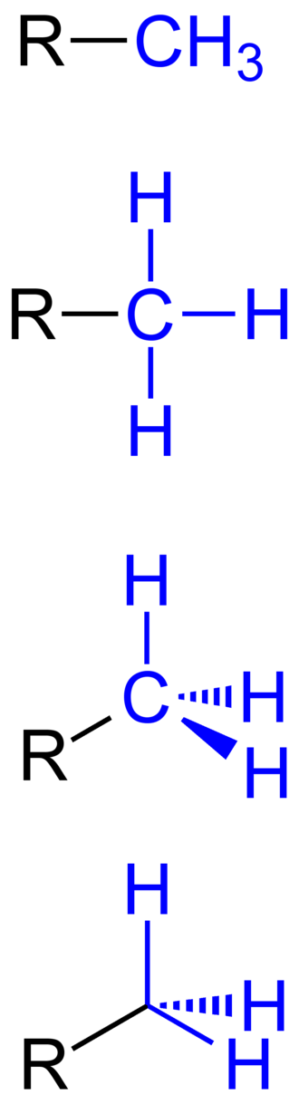 Methyl group - Different ways of representing a methyl group (highlighted in blue)