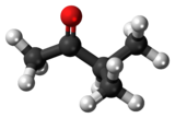Ball-and-stick model of the methyl isopropyl ketone molecule