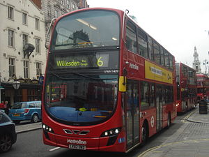 London Buses route 6 - Metroline Wright Eclipse Gemini 2 bodied Volvo B5LH on The Strand in September 2013