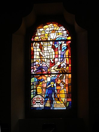 Michael Morris, 3rd Baron Killanin - Commemorative stained glass window for The 3rd Lord Killanin in Spiddal