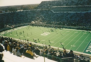2001 Michigan vs. Michigan State football game - The Spartans warming up before the game.