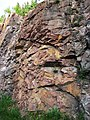 Microsyenite dike (Precambrian; Michipicoten River Bridge South roadcut, south of Wawa, Ontario, Canada) 20 (47924807686).jpg
