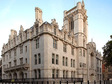The Middlesex Guildhall in London is the location of the Supreme Court Middlesex Guildhall (cropped).jpg