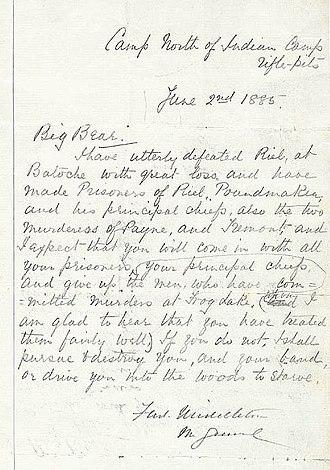 Big Bear - A letter from General Middleton to Big Bear, urging him to surrender
