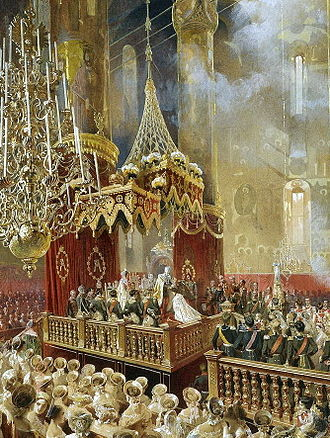 Alexander II of Russia - The coronation of Emperor Alexander II and Empress Maria Alexandrovna on 26 August/7 September 1856 at the Dormition Cathedral of the Moscow Kremlin, painting by Mihály Zichy. The painting depicts the moment when the Emperor crowned the Empress.