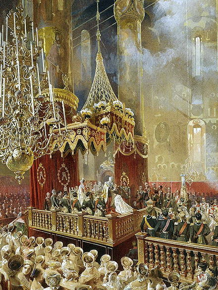 The coronation of Emperor Alexander II and Empress Maria Alexandrovna on 26 August/7 September 1856 at the Dormition Cathedral of the Moscow Kremlin, painting by Mihaly Zichy. The painting depicts the moment when the Emperor crowned the Empress. Mihaly Zichy - Coronation of Alexander II (1857, Hermitage) detail 01.jpg