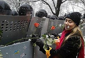 Militsiya (Ukraine) - A girl attaches flowers to Kiev riot militisya officers' shields during the Orange Revolution.
