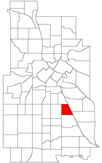 Location of Corcoran within the U.S. city of Minneapolis