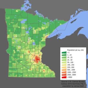 Densidad de población de Minnesota