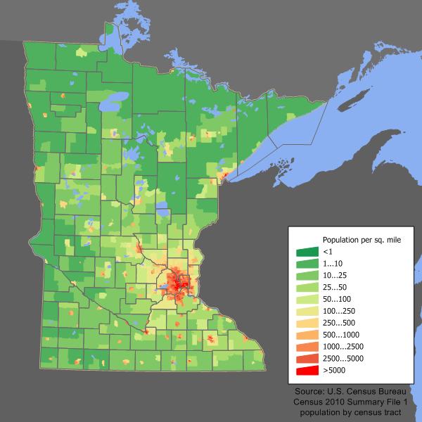 Minnesota population map