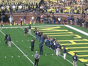 Michigan Wolverines field hockey - The 2001 national champion Michigan field hockey team honored at Michigan Stadium on the occasion of their 10-year reunion in 2011.