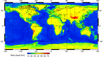 Mohorovičić discontinuity - World map showing the depth of the Moho.