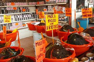 Oaxacan cuisine - Store selling various Oaxacan moles
