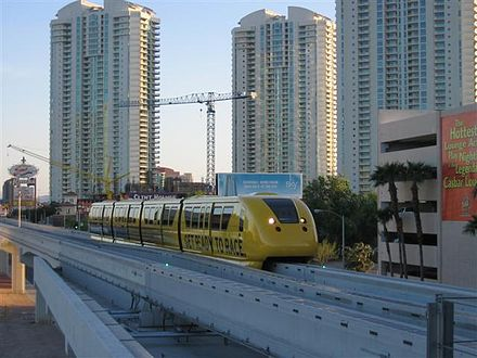 The Las Vegas Monorail pulling into the Sahara Station in Paradise. MonorailAtSahara.JPG