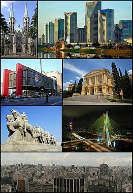 Do alto, da esquerda para a direita: Catedral da Sé, CENU, MASP, Museu Paulista, Monumento às Bandeiras, Ponte Octávio Frias de Oliveira e visão geral da cidade.