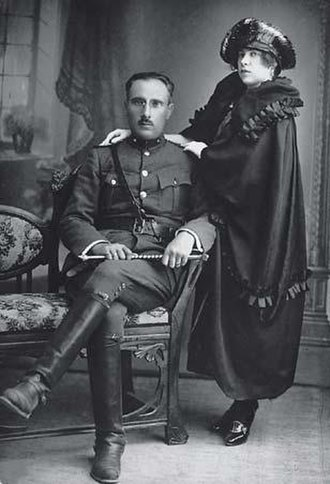 Romaniote Jews - Colonel Mordechai Frizis (1893–1940) from the ancient Romaniote Greek Jewish community of Chalkis with his wife Victoria.