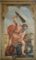 Morte do Leão de Nemeia, 1.º Trabalho de Hércules (Escadaria, Palácio Quintela).png