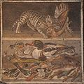 Mosaic depicting a cat with a partridge (above) and ducks, fish & shellfish (below), from the House of the Faun, Pompeii, Naples Archaeological Museum (15022043286).jpg