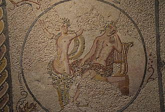 Villa of Torre de Palma - Image: Mosaic floor depicting Apollo and Daphne, from the Villa Torre de Palma near Monforte, 3rd 4th century AD, National Archaeology Museum of Lisbon, Portugal (12973823165)