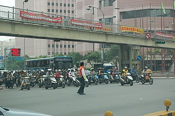 Motorcycles in front of Taipei International Convention Center 20070324.jpg