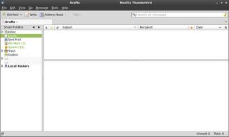 Three-pane interface - The three-paned main window of Mozilla Thunderbird.