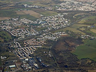 Muirhead, North Lanarkshire - Muirhead, Chryston and Moodiesburn from the air. Garnkirk was on the railway line at the bottom of the picture.