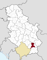 Location o the municipality o Leskovac within Serbie