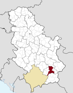 Location of the city of Leskovac within Serbia