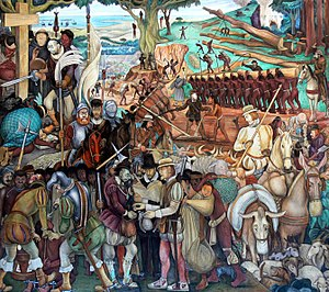 Economic history of Mexico - Diego Rivera Mural of exploitation of Mexico by Spanish conquistadors, Palacio Nacional, Mexico City (1929–1945)