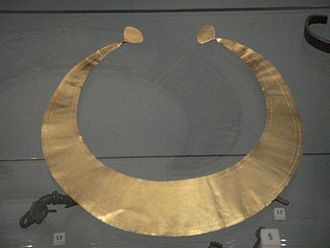 Prehistoric art in Scotland - A gold lunula, one of two found at Southside in Lanarkshire, a high status ornament, worn sometime between 2300 and 2000 BCE