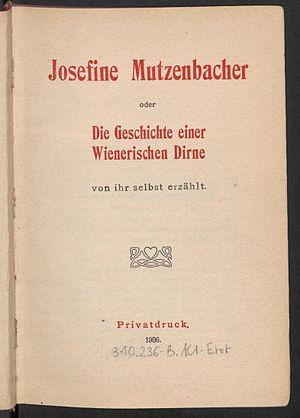Josephine Mutzenbacher - Title page from 1906.
