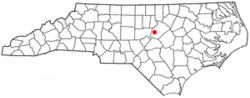 The red dot is where Apex is at in the state of North Carolina
