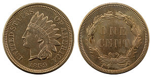 Indian Head cent - Image: NNC US 1859 1C Indian Head Cent (wreath)
