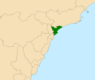 Electoral district of Newcastle - Location in the Central Coast region