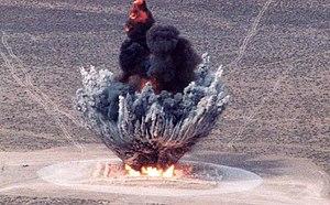 Explosion - Detonation of 16 tons of explosives.