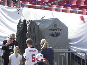 Instant replay in American and Canadian football - Instant Replay booth at Raymond James Stadium