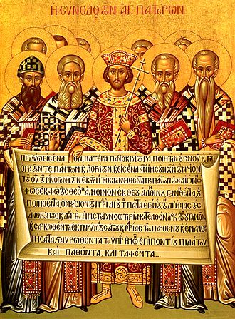 First Council of Nicaea - Icon depicting the Emperor Constantine and the bishops of the First Council of Nicaea (325) holding the Niceno–Constantinopolitan Creed of 381