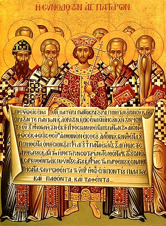 Icon depicting the Roman Emperor Constantine (centre) and the bishops of the First Council of Nicaea (325) holding the Niceno-Constantinopolitan Creed of 381. Nicaea icon.jpg
