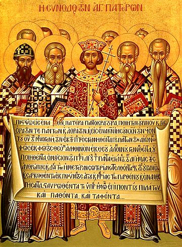 Emperor Constantine and bishops with the Creed of 381. Nicaea icon.jpg