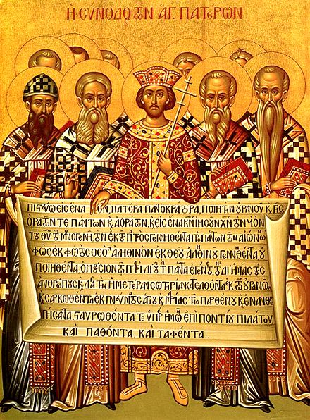 Icon depicting the Emperor Constantine (center) and the bishops of the First Council of Nicaea (325) holding the Niceno-Constantinopolitan Creed of 381. Nicaea icon.jpg