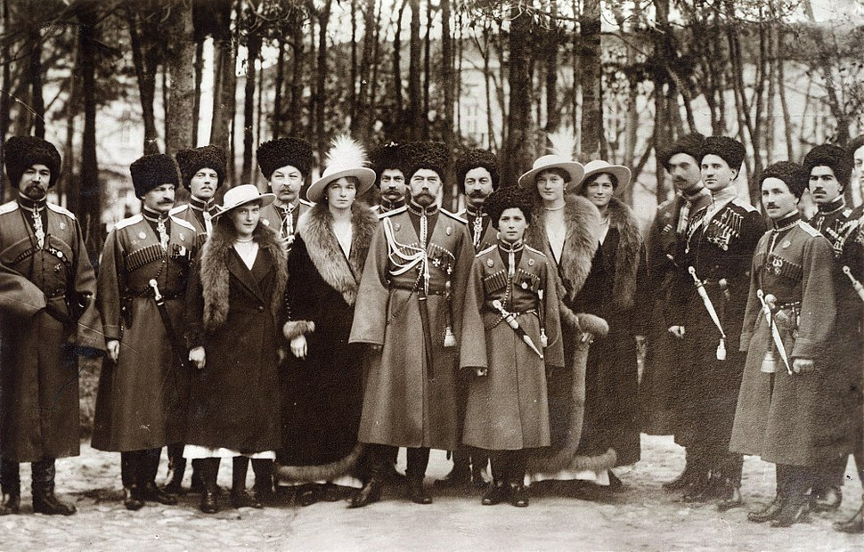 Nicholas II and children with Cossacks of the Guard