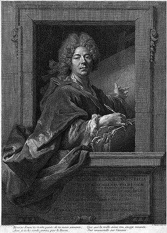 Nicolas de Largillière - Self-portrait of Nicolas de Largillierre. Engraving by François Chereau (1715).