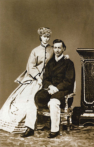Nicholas Alexandrovich, Tsesarevich of Russia - Tsesarevich Nicholas with Princess Dagmar of Denmark, engagement photograph, 1864