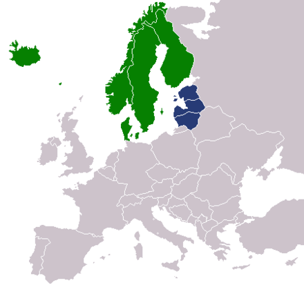 Location of the Nordic countries and of the Baltic states: Nordic countries Baltic states Nordic countries and Baltic states.png
