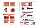 Norsk soldatbok Forsvarsdepartementet 1928 Flagg Riksvåpen kongeflagg orlogsgjøs vimpel etc (Norwegian flags and Coat of arms) Public domain 600ppi oppslag.jpg