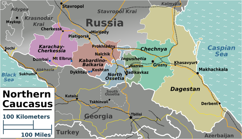 North Caucasus regions map