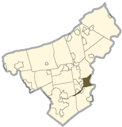 Location of Easton, Pennsylvania