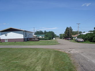 Wibaux, Montana - Looking east down B street in northern Wibaux